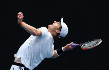 MELBOURNE, AUSTRALIA - DECEMBER 11:  Luke Saville of Australia competes against Marc Polmans of Australia in his first round Australian Open December Showdown match at Melbourne Park on December 11, 2017 in Melbourne, Australia.  (Photo by Robert Prezioso/Getty Images)