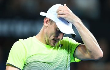 BRISBANE, AUSTRALIA - JANUARY 04:  John Millman of Australia reacts in his match against Grigor Dimitrov of Bulgaria during day five of the 2018 Brisbane International at Pat Rafter Arena on January 4, 2018 in Brisbane, Australia.  (Photo by Chris Hyde/Getty Images)