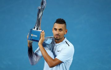 BRISBANE, AUSTRALIA - JANUARY 07:  Nick Kyrgios of Australia holds the winners trophy after the Men's Final match against Ryan Harrison of the USA during day eight of the 2018 Brisbane International at Pat Rafter Arena on January 7, 2018 in Brisbane, Australia. (Photo by Chris Hyde/Getty Images)