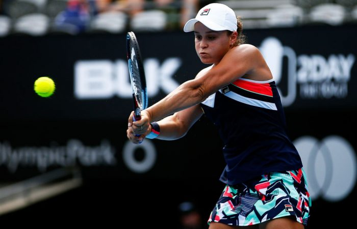 Ashleigh Barty is through to her first semifinal on home soil. (Photo by Zak Kaczmarek/Getty Images)