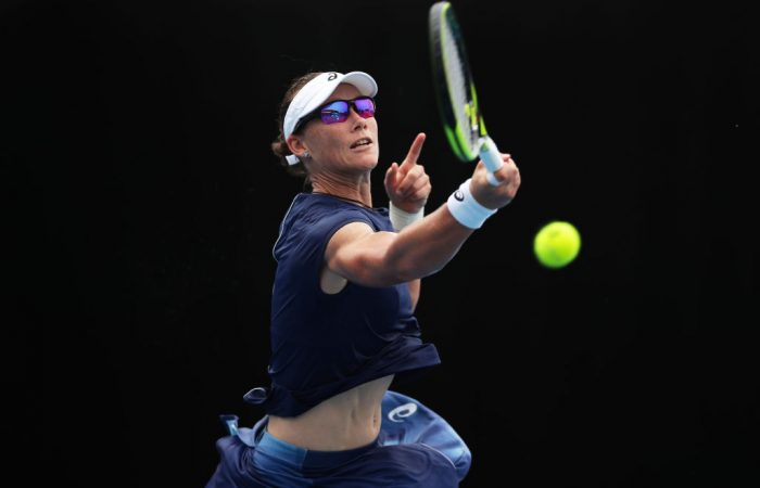 Sam Stosur in action during her win over German Carina Witthoeft. (Photo by Matt King/Getty Images)
