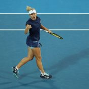 Daria Gavrilova celebrates during her victory over Samantha Stosur (Photo by Mark Metcalfe/Getty Images)