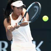 Priscilla Hon hits a backhand during her qualifying win over Barbora Stefkova. (Photo by Robert Prezioso/Getty Images)