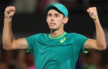 SYDNEY, AUSTRALIA - JANUARY 12:  Alex de Minaur of Australia celebrates winning match point in his semi final match against Benoit Paire of France during day six of the 2018 Sydney International at Sydney Olympic Park Tennis Centre on January 12, 2018 in Sydney, Australia.  (Photo by Mark Metcalfe/Getty Images)