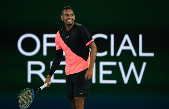 Kyrgios of Australia reacts in his third round match against Jo-Wilfried Tsonga of France on day five of the 2018 Australian Open at Melbourne Park on January 19, 2018 in Melbourne, Australia.