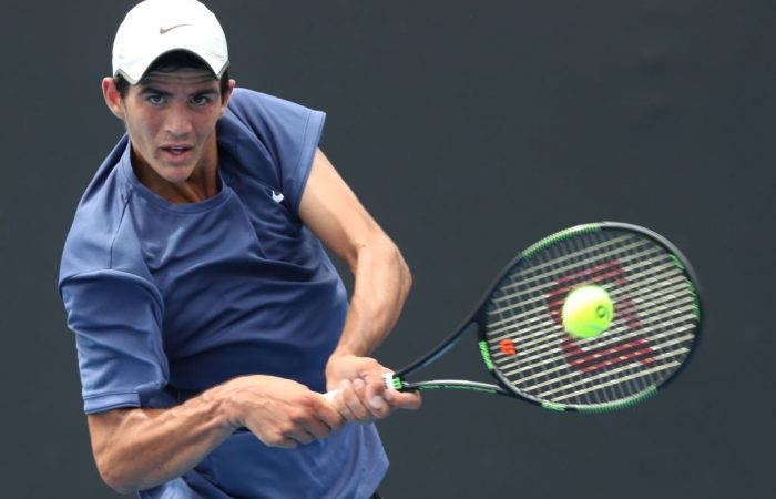 Alexander Crnokrak is through to the second round of the boys' singles in Melbourne. (Photo by Mark Metcalfe/Getty Images)