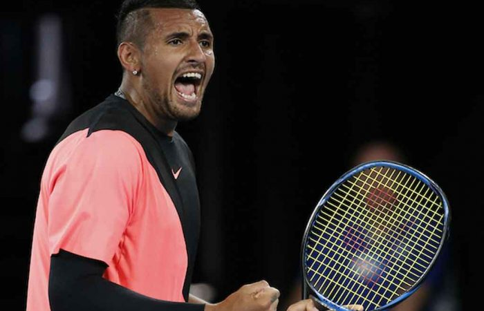 Nick Kyrgios claims his first victory on Rod Laver Arena.