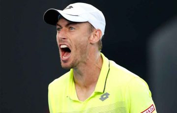 John Millman celebrates during a first round triumph against Borna Coric.