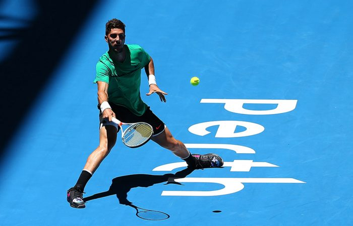 Thanasi Kokknakis in action for Australia at the Hopman Cup in Perth; Getty Images