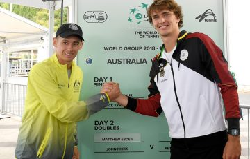 Alex De Minaur and Alexander Zverev ahead of their Davis Cup singles rubber on Friday; Getty Images
