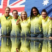 The Australian Fed Cup team of (L-R) Alicia Molik, Ash Barty, Daria Gavrilova, Destanee Aiava and Casey Dellacqua at the draw ceremony for the Australia v Ukraine tie in Canberra; Getty Images
