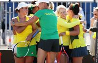 The Australian Fed Cup team celebrates its World Group II first-round victory over Ukraine in Canberra; Getty Images