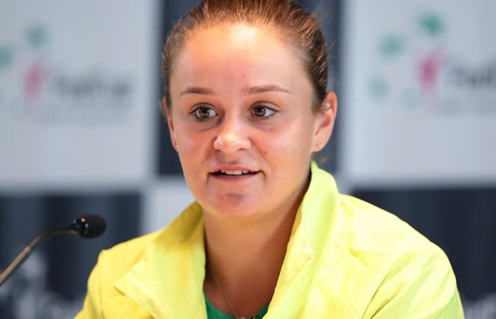 Ash Barty speaks to the media at the Australia v Ukraine Fed Cup tie official draw ceremony; Getty Images