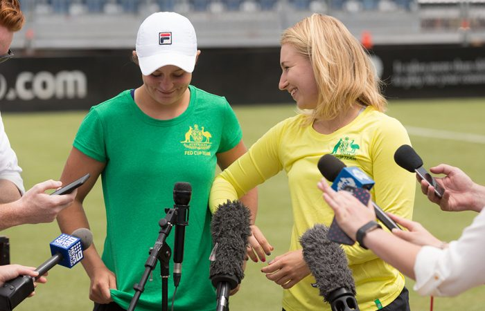 Ash Barty (L) and Daria Gavrilova chat to the media in Canberra ahead of Australia's Fed Cup tie against the Ukraine.