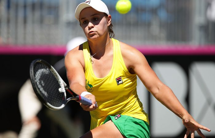Australia's Ash Barty in action during her opening singles rubber against Lyudmyla Kichenok of Ukraine in Canberra; Getty Images