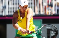 Ash Barty in action during her reverse singles rubber against Marta Kostyuk; Getty Images