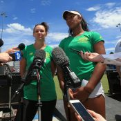 Casey Dellacqua (L) and Destanee Aiava speak to the media in Canberra ahead of Australia's Fed Cup tie against Ukraine.