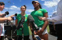 Casey Dellacqua (L) and Destanee Aiava speak to the media in Canberra ahead of Australia's Fed Cup tie against Ukraine.