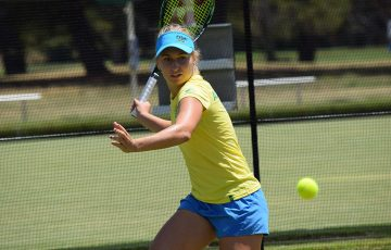 Daria Gavrilova trains on grass in Canberra ahead of Australia's Fed Cup tie against Ukraine.