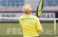 Daria Gavrilova practises in Canberra ahead of Australia's Fed Cup tie against Ukraine.