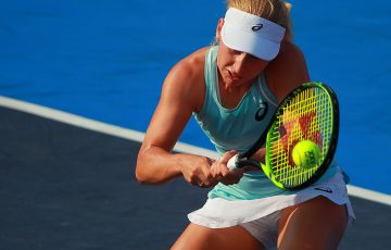 Daria Gavrilova in action during her first-round victory over Madison Brengle at the WTA tournament in Acapulco; Getty Images