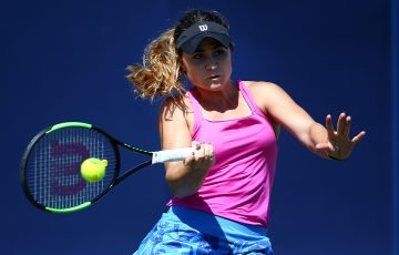 EASTBOURNE, ENGLAND - JUNE 23: Gabriella Taylor of Great Britain in action during her women's qualifying match against  Laura Davis of USA during qualifying on day one of the Aegon International Eastbourne on June 23, 2017 in Eastbourne, England. (Photo by Charlie Crowhurst/Getty Images for LTA)