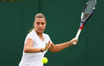 LONDON, ENGLAND - JULY 03: Irina Khromacheva of Russia plays a forehand during the Ladies Singles first round match on day one of the Wimbledon Lawn Tennis Championships at the All England Lawn Tennis and Croquet Club on July 3, 2017 in London, England.  (Photo by Michael Steele/Getty Images)