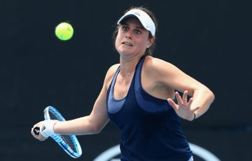 MELBOURNE, AUSTRALIA - JANUARY 11:  Kimberly Birrell of Australia competes in her first round match against Xinyun Han of China during 2018 Australian Open Qualifying at Melbourne Park on January 11, 2018 in Melbourne, Australia.  (Photo by Robert Prezioso/Getty Images)