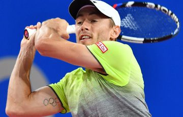 John Millman in action during his second-round loss to Benoit Paire at the Open Sud de France in Montpellier; Getty Images
