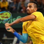 Australia have levelled the Davis Cup first round tie with Germany after Nick Kyrgios brushed aside Jan-Lennard Struff in straight sets in Brisbane.  World No.14 Kyrgios - ranked 44 places higher than his opponent - overpowered the German No.2 6-4 6-4 6-4 in just over 90 minutes at Pat Rafter Arena.  Earlier, Germany drew first blood in the best of five hardcourt tie when world No.5 Alexander Zverev dug deep to hold out plucky rookie Alex de Minaur 7-5 4-6 4-6 6-3 7-6 (7-4) in just under four hours.  Australian No.1 Kyrgios was in cruise control for much of the match, in an ominous sign for Zverev before they meet in Sunday's reverse singles.  Kyrgios was at his nonchalant best, oozing confidence after a stellar summer run which included a Brisbane International triumph last month - his first ATP tour win on home soil - and an Australian Open fourth round finish.  Australia will look to take a 2-1 lead in Saturday's doubles when Matthew Ebden and John Peers take on Peter Gojowczyk and Tim Puetz.  The winner advances to the quarterfinals from April 6-8, either hosting Great Britain or travelling to face Spain.  The losing nation will contest September's World Cup playoffs, to be drawn on April 10.  Australia - looking to end a 15-year Davis Cup title drought - have reached the World Group semi-finals twice in the past three years.