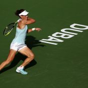 Sam Stosur in action during her first-round loss to Anett Kontaveit at the Dubai Tennis Championships; Getty Images