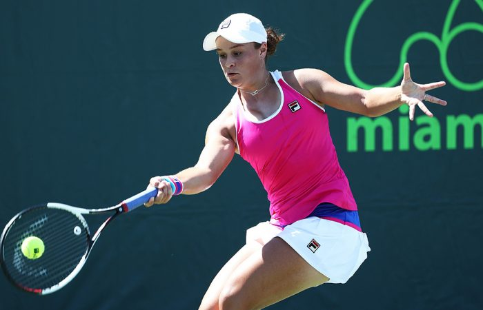Ash Barty in action during her third-round win over Petra Martic at the Miami Open; Getty Images
