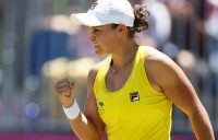 Ash Barty competes for Australia during the Fed Cup World Group II tie against Ukraine in Canberra; Getty Images