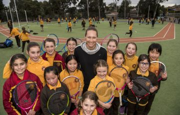 Sam Stosur meets AO Community Grants recipient Vicky Lee