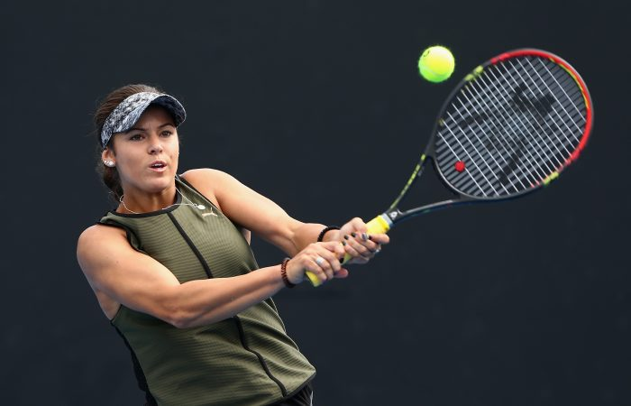 MELBOURNE, AUSTRALIA - DECEMBER 11:  Masa Jovanovic of Australia competes against Jessica Moore and Ellen Perez of Australia in her first round Australian Open December Showdown match at Melbourne Park on December 11, 2017 in Melbourne, Australia.  (Photo by Robert Prezioso/Getty Images)