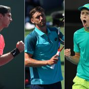 (L-R) Thanasi Kokkinakis, John Millman and Alex De Minaur qualified for the Miami Open; Getty Images
