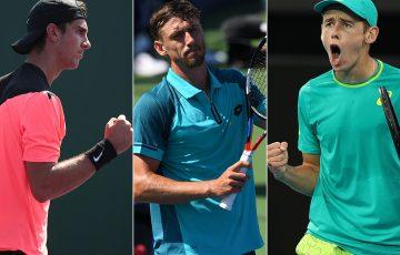 (L-R) Thanasi Kokkinakis, John Millman and Alex De Minaur qualified for the Miami Open; Getty Images