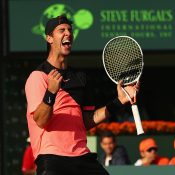 Thanasi Kokkinakis celebrates his second-round victory over Roger Federer at the Miami Open; Getty Images