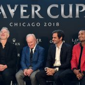 Nick Kyrgios (R) and John McEnroe (L) with Rod Laver and Roger Federer at a Laver Cup promotional event in Chicago; Getty Images