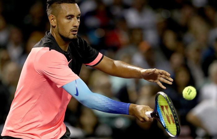 Nick Kyrgios in action during his second-round win at the Miami Open; Getty Images