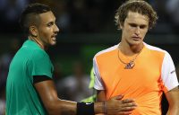 Nick Kyrgios (L) and Alexander Zverev played out a three-set quarterfinal at the Miami Open in 2017; Getty Images
