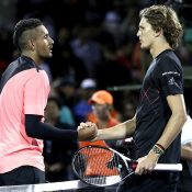 Nick Kyrgios (L) shakes hands with Alexander Zverev after falling to the German in their fourth-round match at the Miami Open; Getty Images