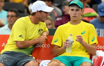 Lleyton Hewitt (L) urges Alex De Minaur on during Davis Cup; Getty Images