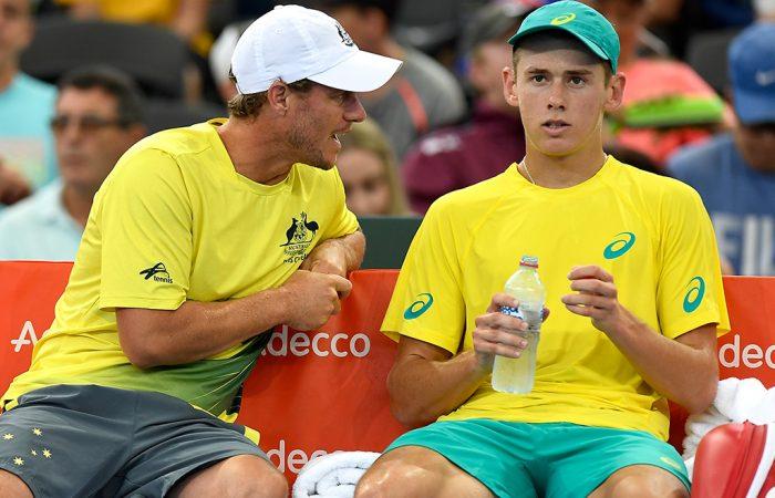 Lleyton Hewitt (L) urges Alex De Minaur on during Davis Cup; Getty Images