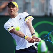 Matt Ebden in action during his first-round win over Gilles Simon at the Miami Open; Getty Images