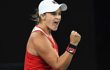 Ash Barty in action at Australian Open 2018, where she reached the third round; Getty Images