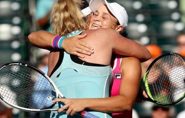 Ash Barty hugs CoCo Vandeweghe after the pair won the Miami Open doubles title; Getty Images