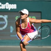 Ash Barty serves during her first-round victory over Sofia Kenin at the WTA event in Charleston (photo credit Chris Smith/Volvo Car Open)
