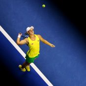 Ash Barty in action during her reverse singles rubber against Lesley Kerkhove; Getty Images