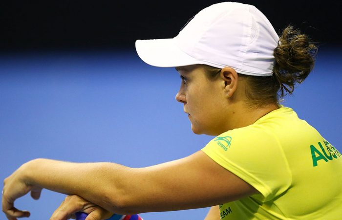 Ash Barty during an Australian Fed Cup team practice session in Wollongong; Getty Images
